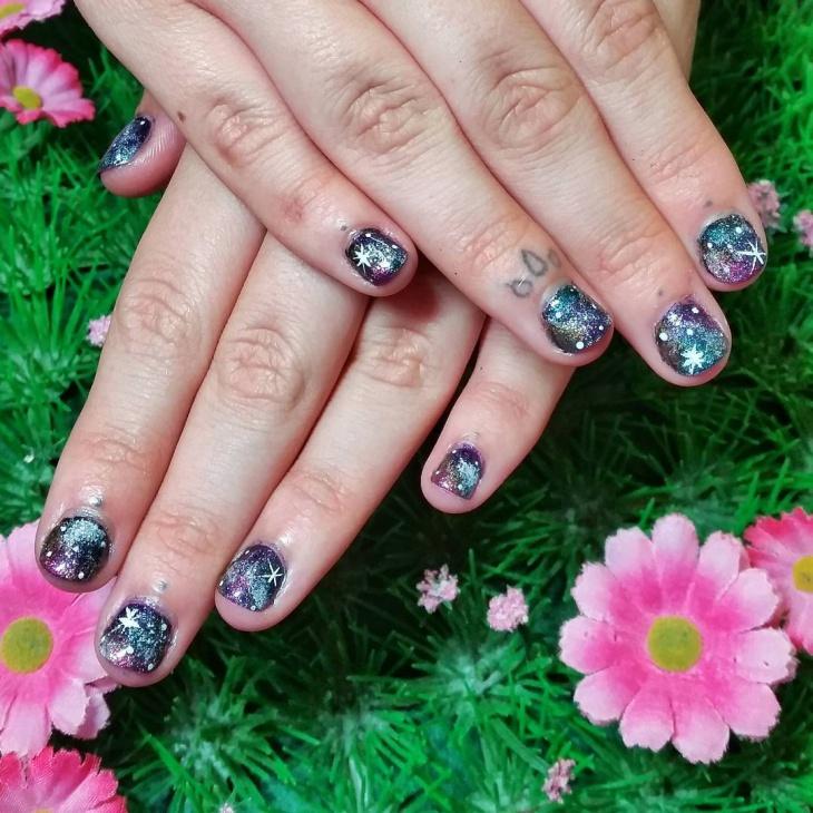 galaxy nail design for short nails