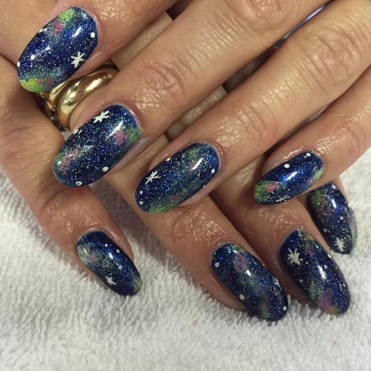 holographic galaxy nail art