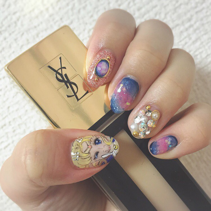 rhinestone galaxy nail art