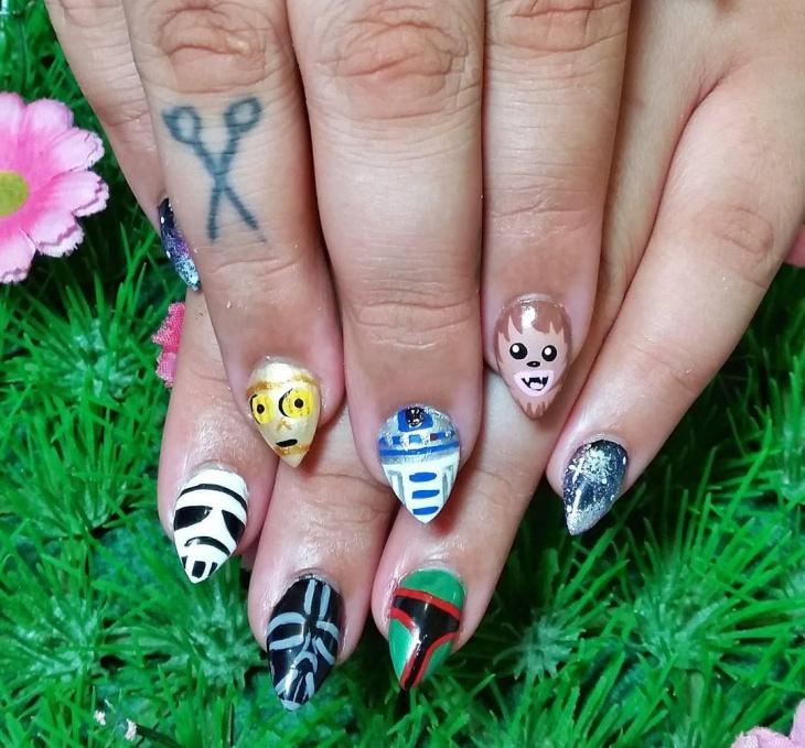 cute galaxy nail design