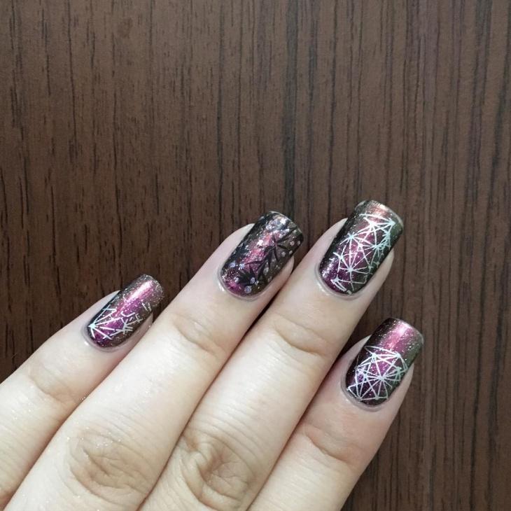 Arcylic Galaxy Nail Design