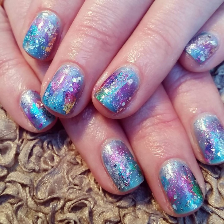 rainbow galaxy nail art idea