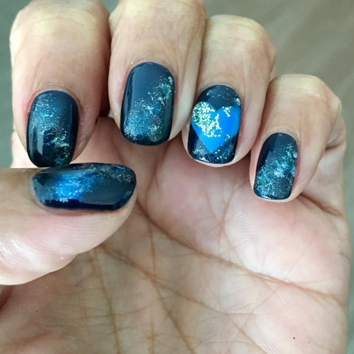 Blue Galaxy Nail Art