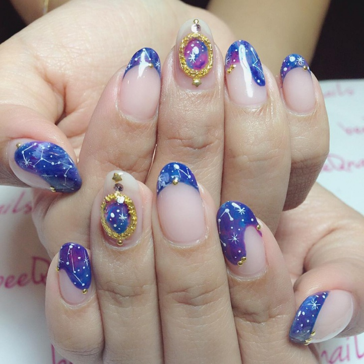 Galaxy Tip Nail Art