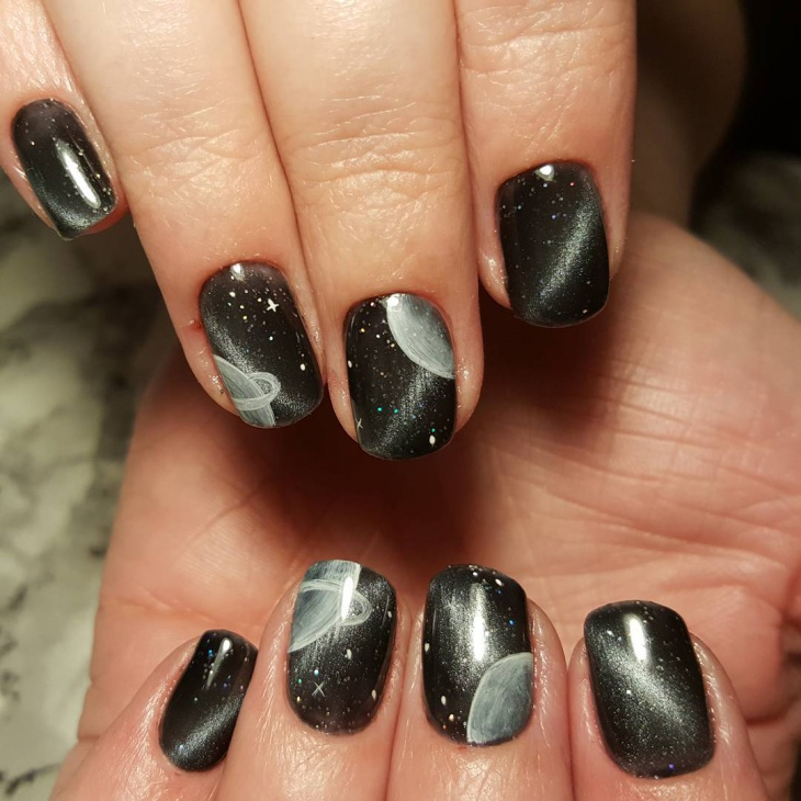 Black Galaxy Nail Art