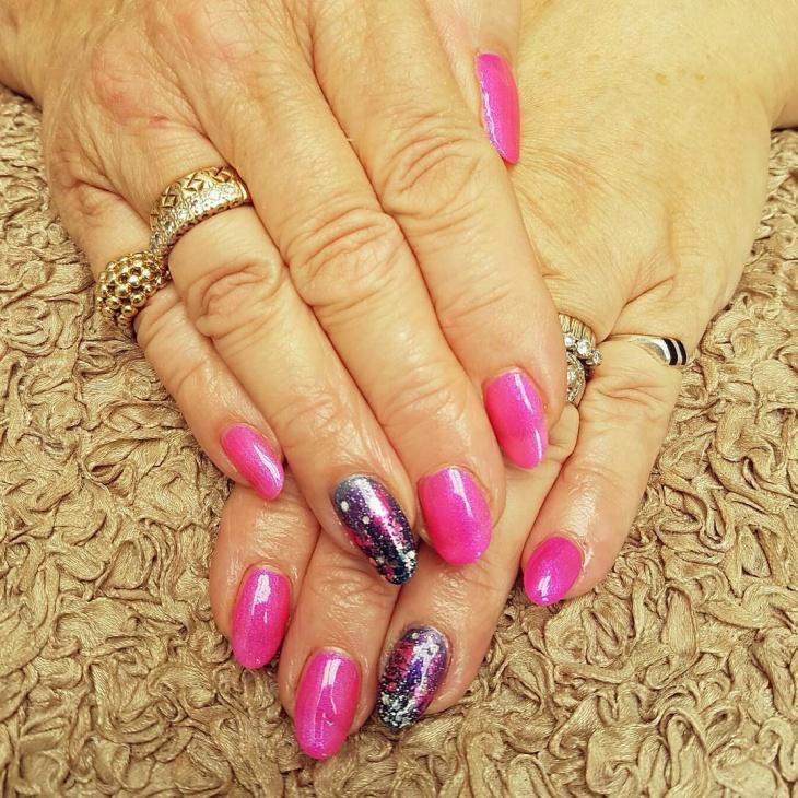 pink galaxy nail design