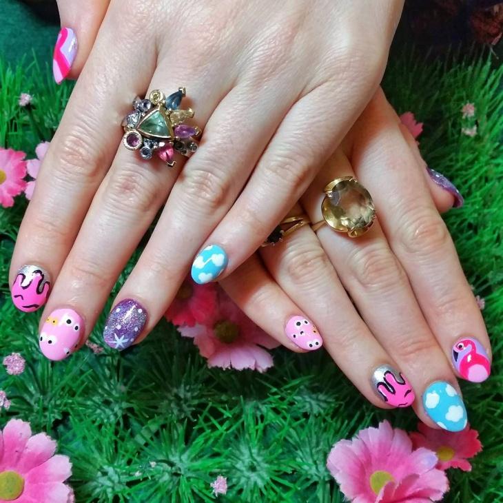 colorful galaxy nail art idea