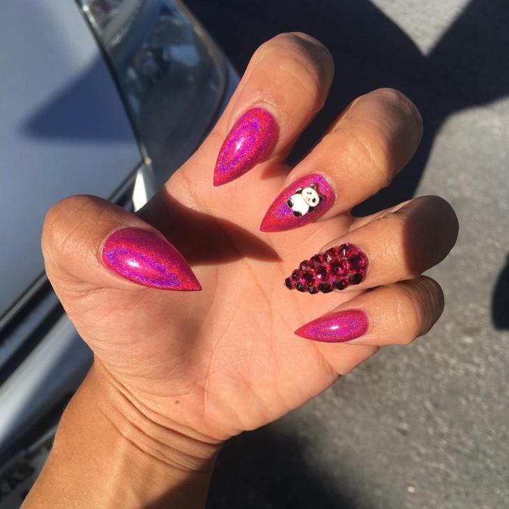 3d panda nail art idea