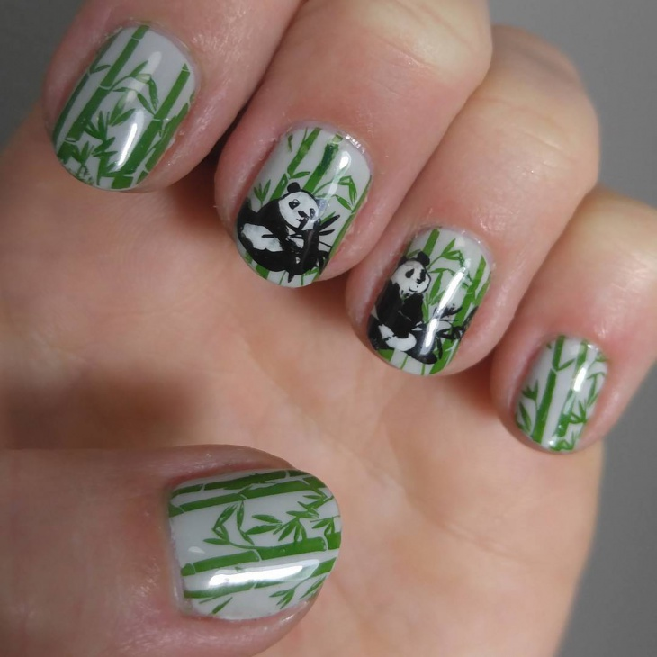 Panda Bamboo Nail Art