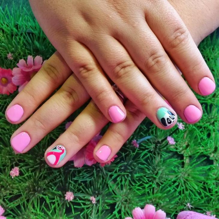 panda nail art for short nails