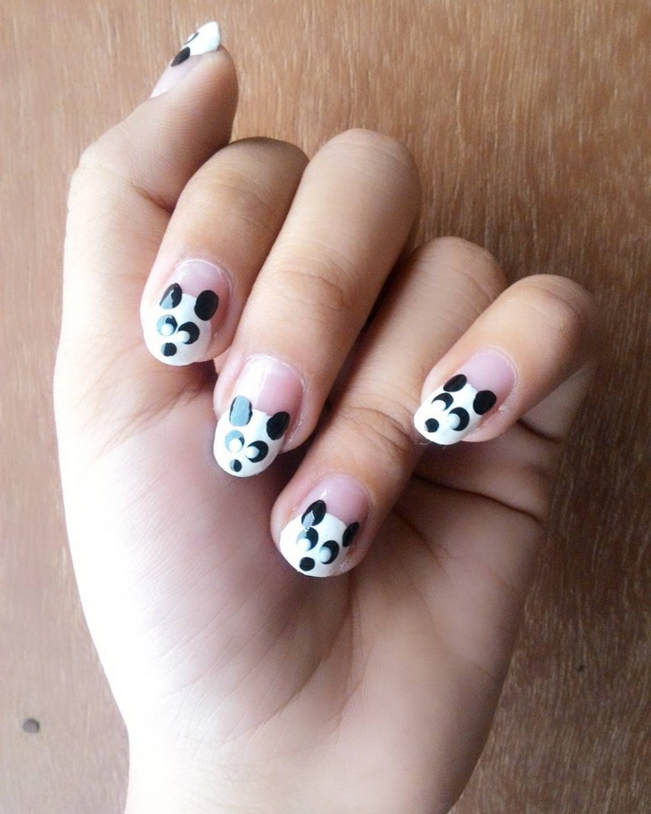 French Tip Panda Nails
