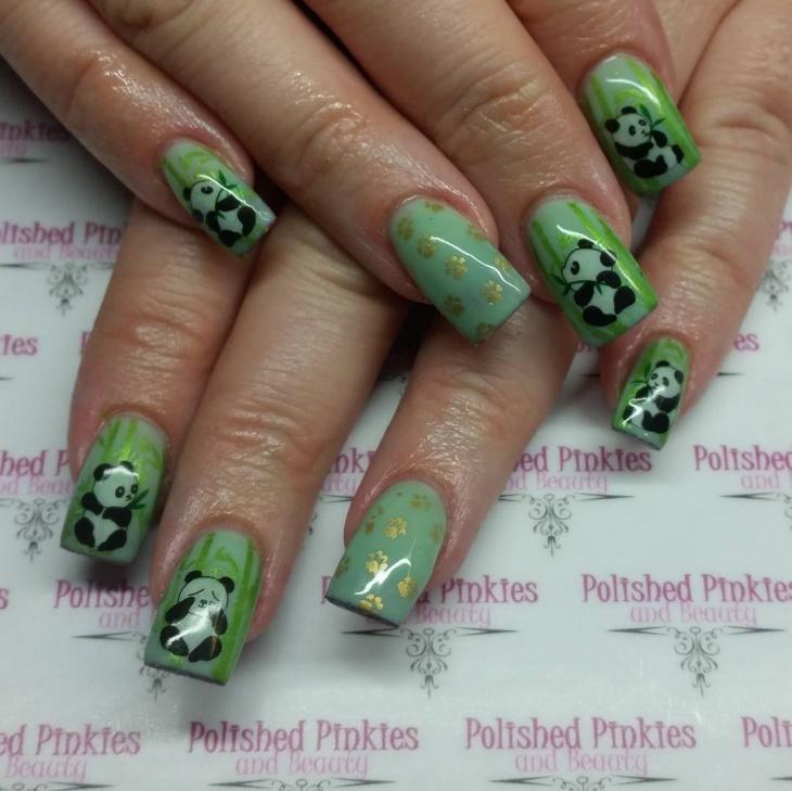 Panda Acrylic Nails