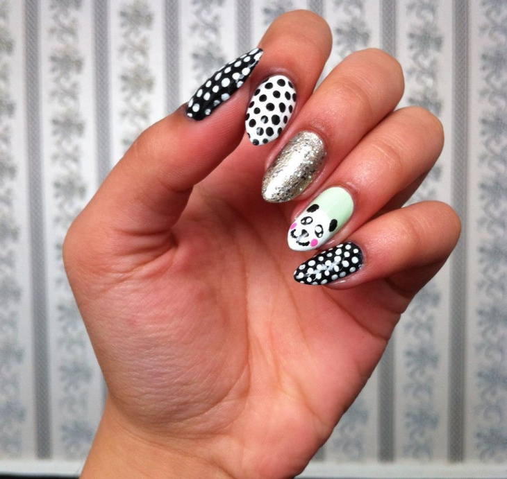 Polka Dot Panda Nail Art Design