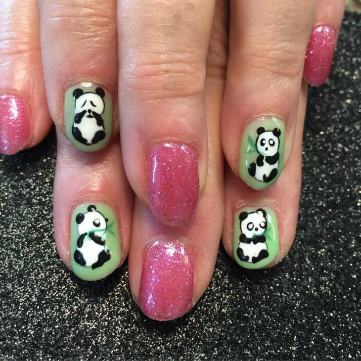 Crying Panda Nail Art Design
