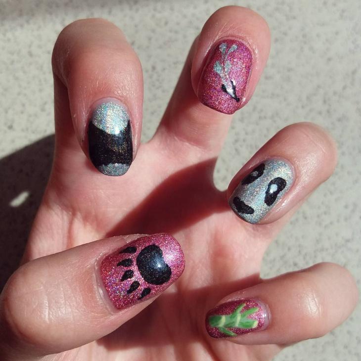 glitter panda nail art