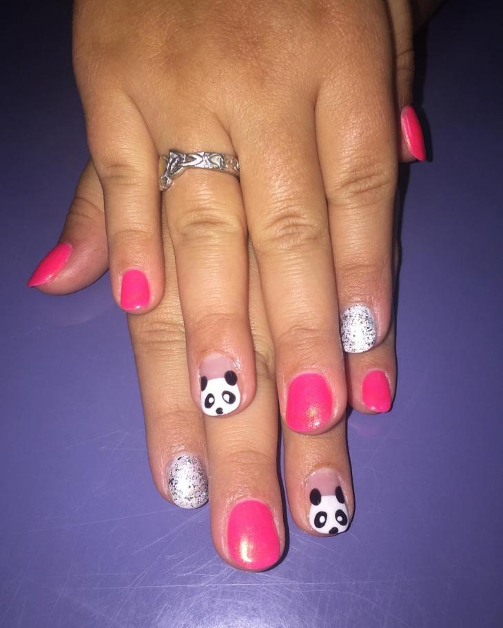 Pink Panda Nail Art
