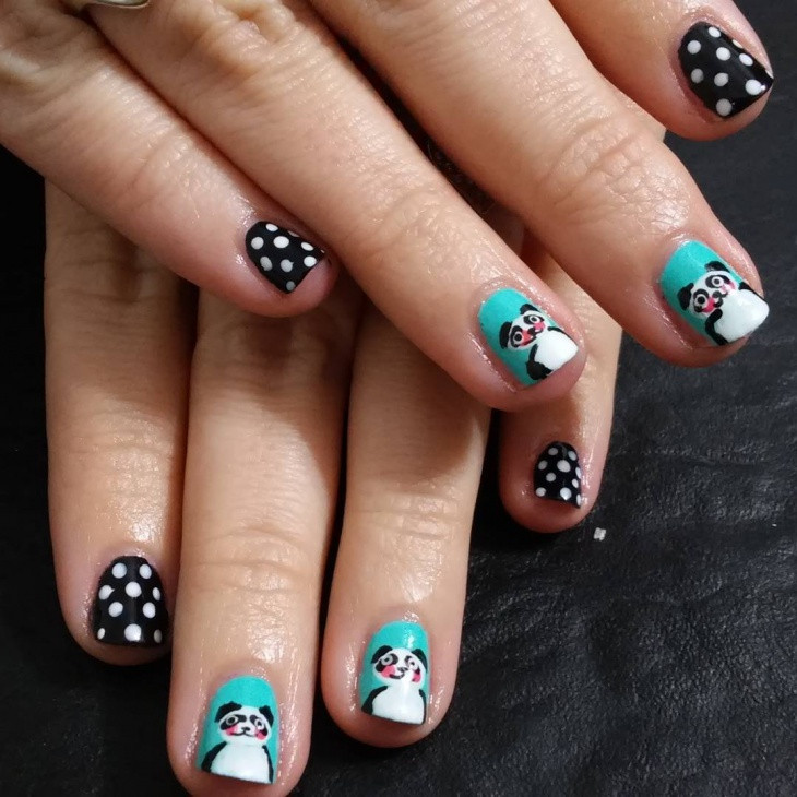 panda teal nail design