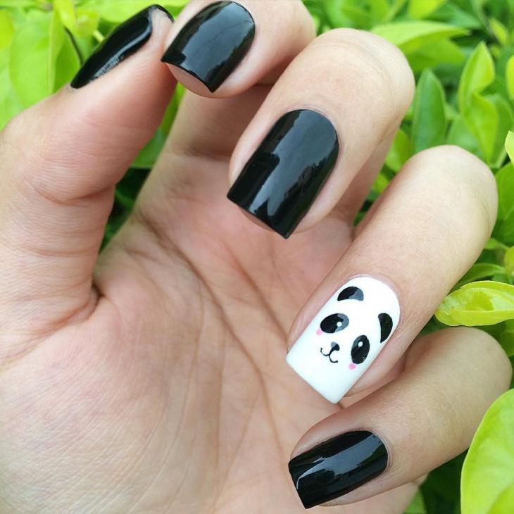 Black Gel Panda Nail Art