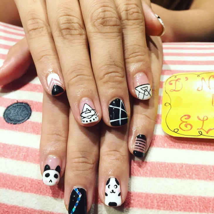 21 panda nail art designs ideas design trends premium psd geometric panda nail art prinsesfo Image collections