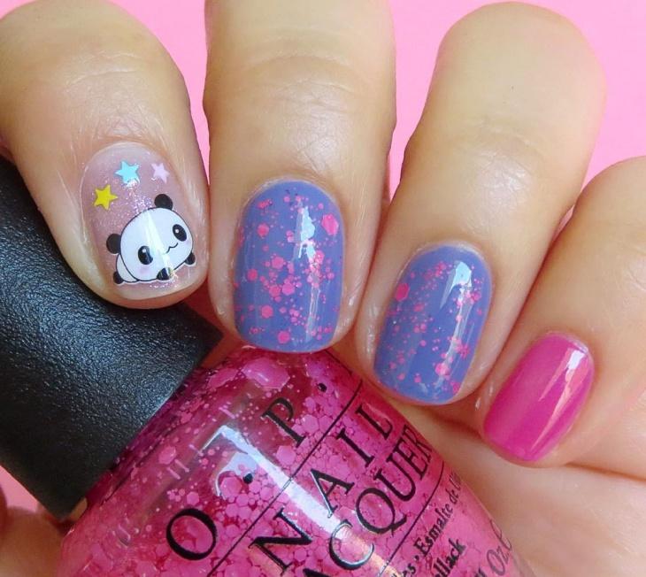 cute panda nail art idea