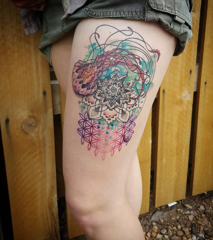 Jellyfish Tattoo On Thigh