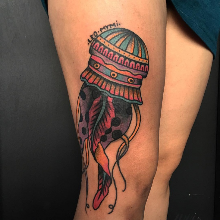 Traditional Jellyfish Tattoo Design