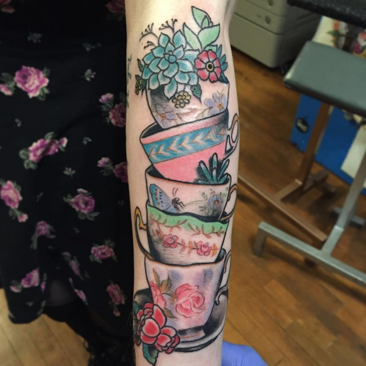 Traditional Teacup Tattoo