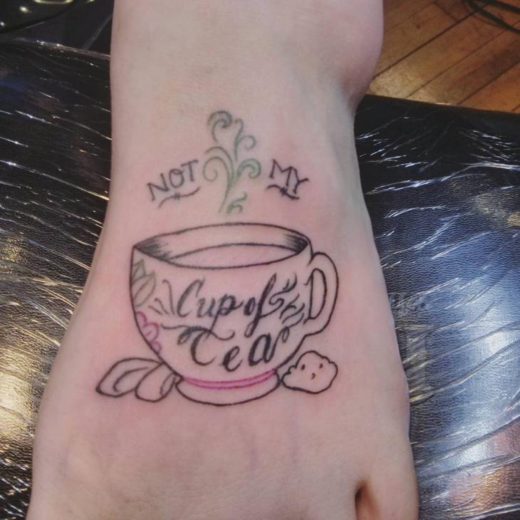 Teacup Foot Tattoo Idea