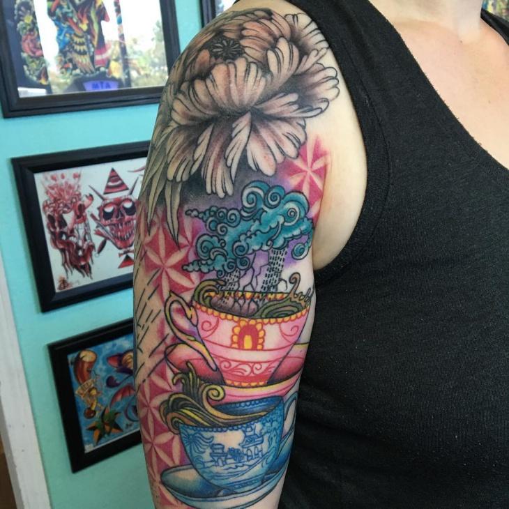 Half Sleeve Teacup Tattoo