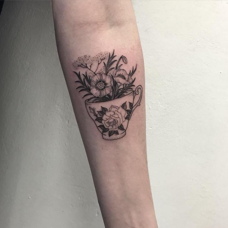 Teacup Tattoo on Forearm