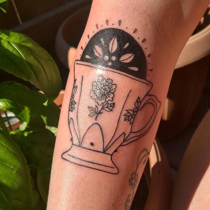 Black Work Teacup Tattoo