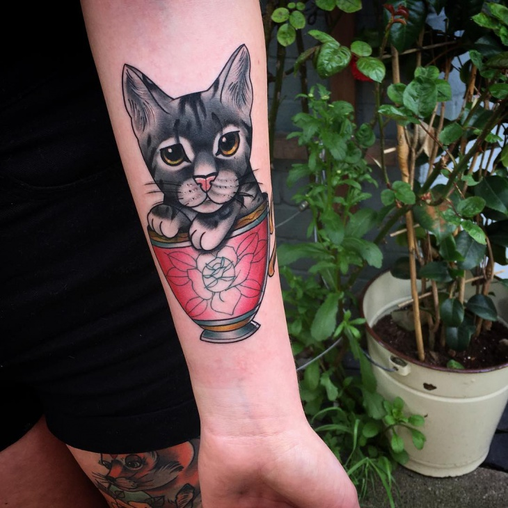 cat teacup tattoo design
