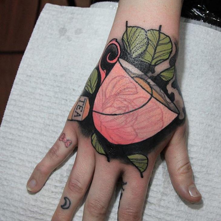 Teacup Palm Tattoo Design