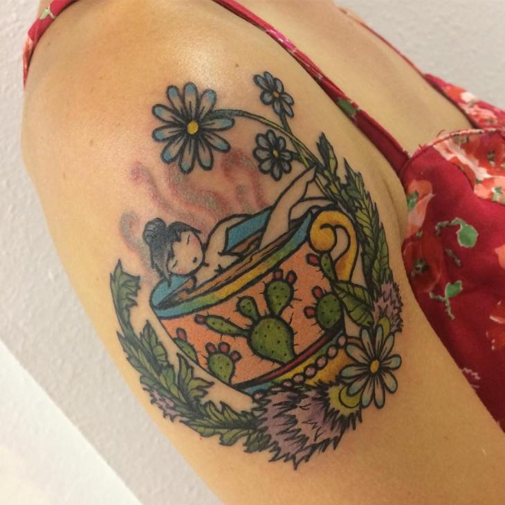 Teacup Shoulder Tattoo Idea