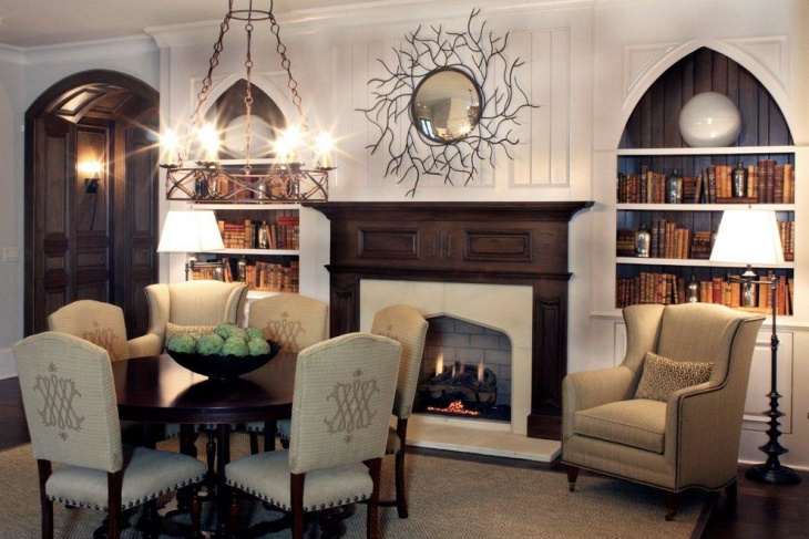 Gothic Style Shelf Frames and Fireplace