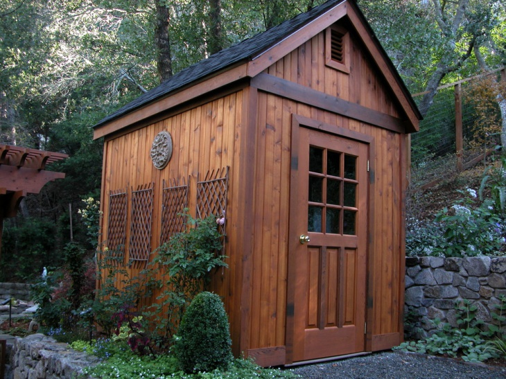 kit shed with herbs garden