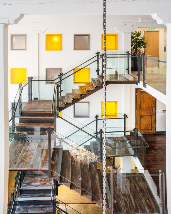 modern buliding glass staircase