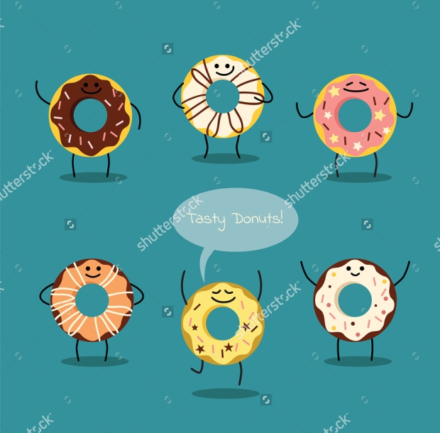 Set of Cartoon Vector Donuts Illustration