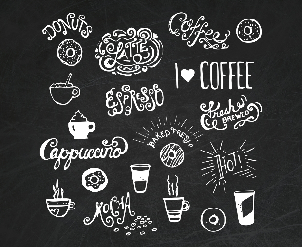 Hand Drawn Coffee and Donut Vector