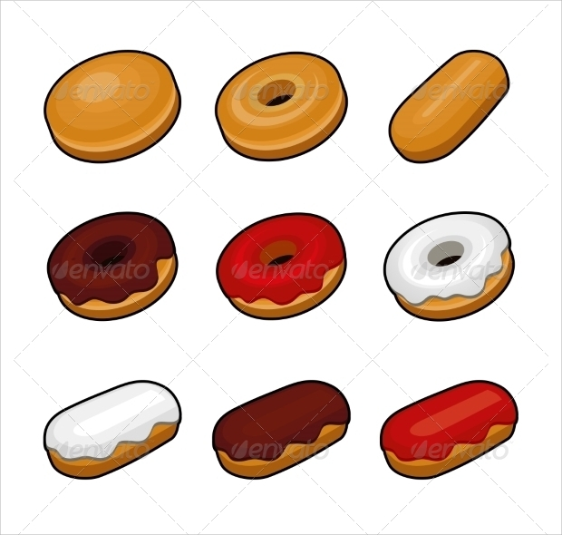 Colorful Sweet Donuts Vector