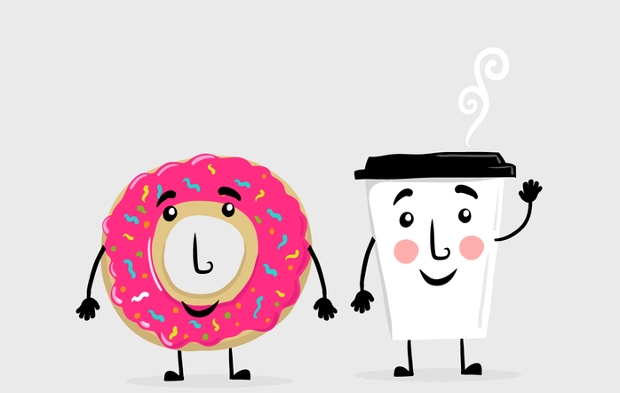 Donut Coffee Friends Vector