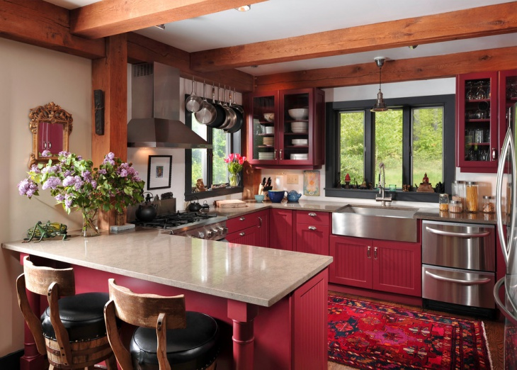 red color small u shaped kitchen
