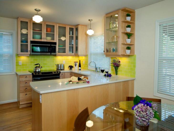 small light wood u shaped kitchen