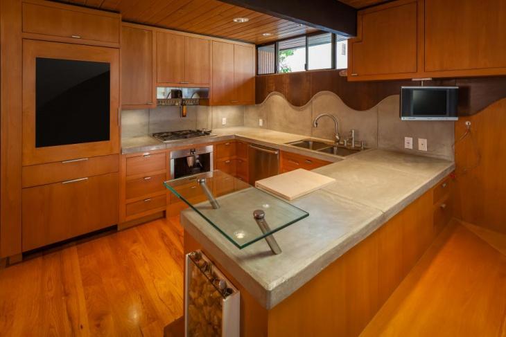 small wooden u shaped kitchen