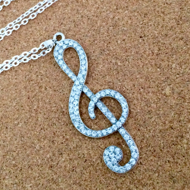 rhinestone music necklace