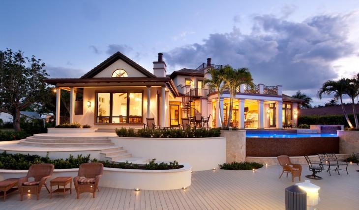 white deck lighting design