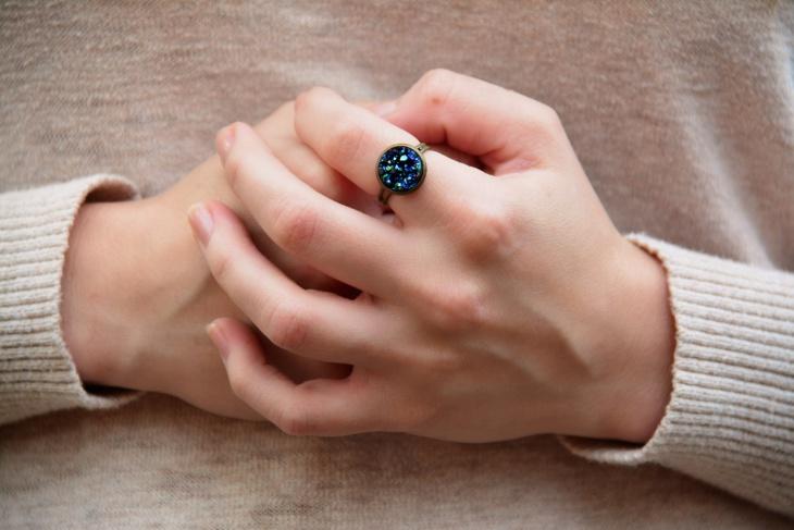 blue druzy boho ring