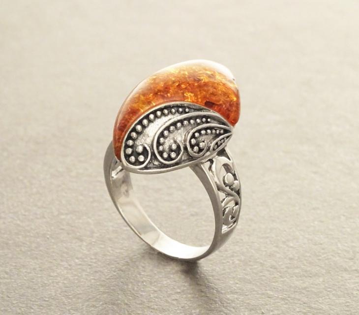 boho amber ring