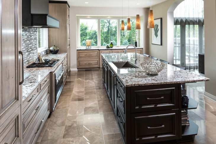 transitional marble kitchen