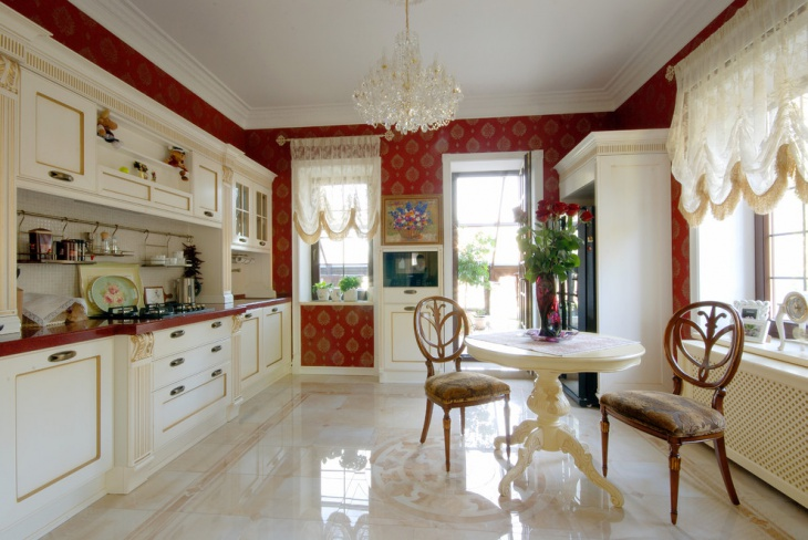 Kitchen Marble Floor Idea